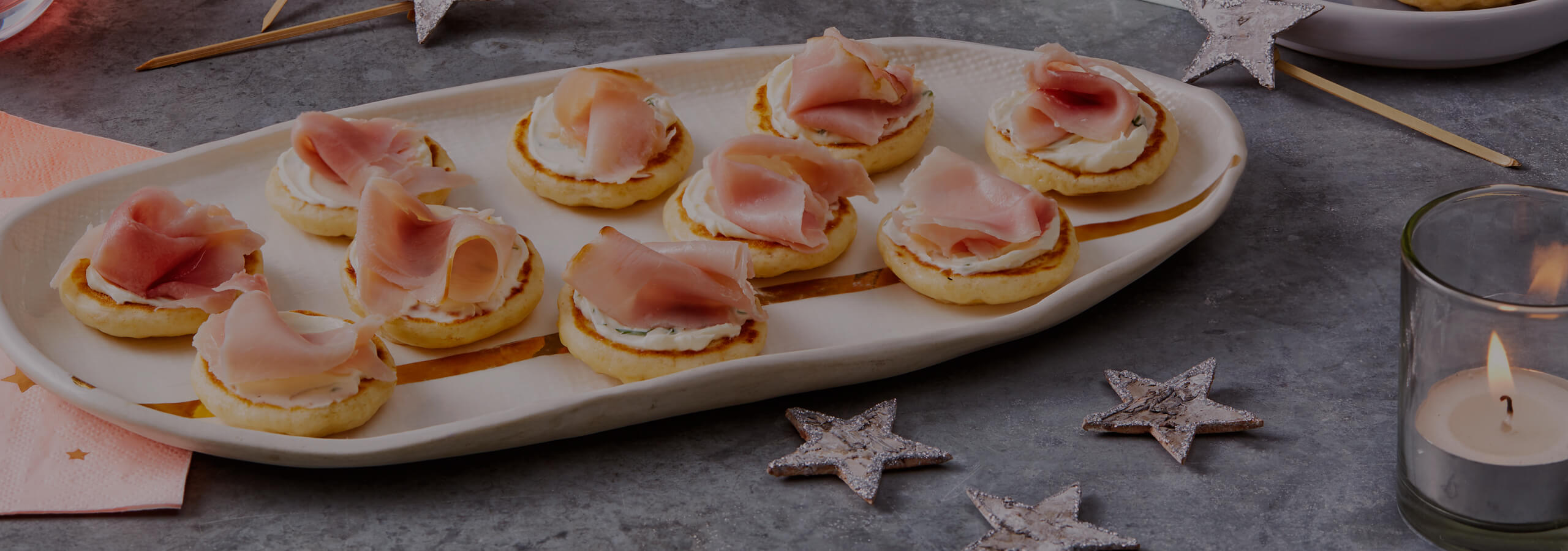 Ham & Cheese Blinis