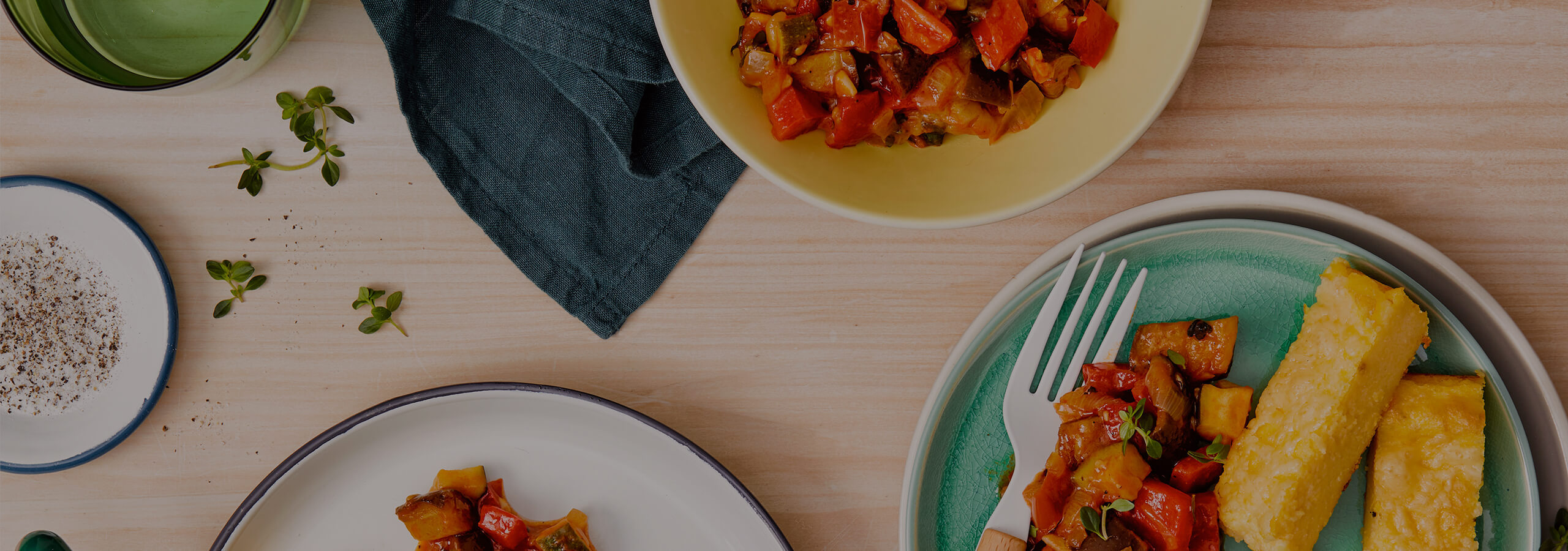 Summer Ratatouille with Cheesy Baked Polenta
